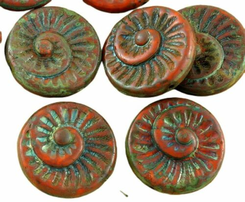4pcs Picasso Brown Nautilus Fossil Snails Seashell Ammonite Flat Round Spiral...