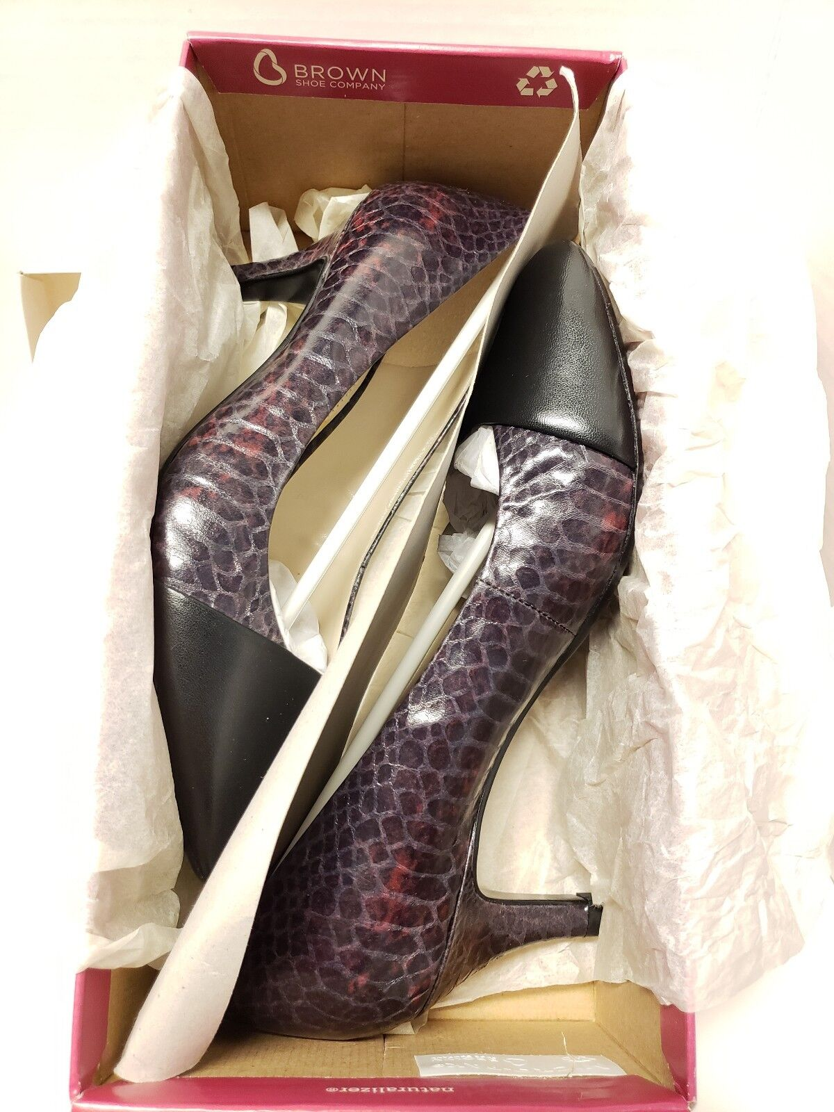 Naturalizer Gusta Snake Print Leather Heels Womens shoes shoes shoes 7.5 M Wine Black NEW b4483f