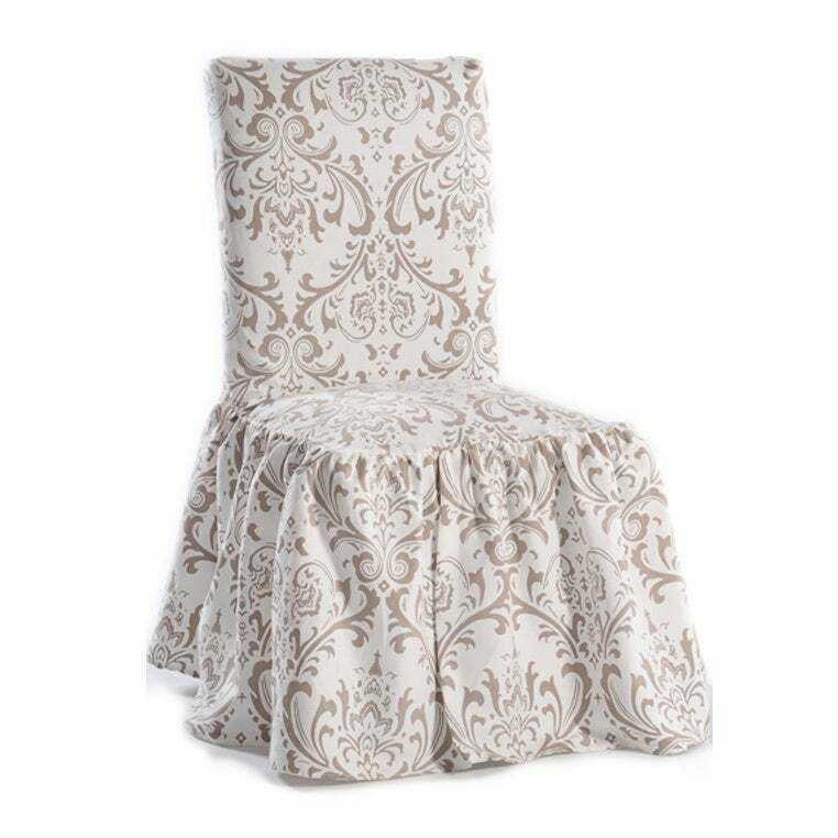 Damask Print Ruffled Dining Chair Slipcovers Set Of 2 For Sale Online Ebay