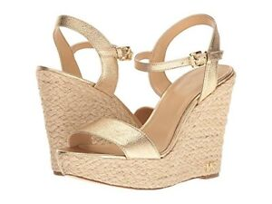 8831474ff989 Image is loading MICHAEL-Michael-Kors-Jill-Metallic-Napa-Espadrille-Wedge-