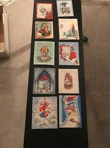 Lot of 10 (used) Beautiful 1940's Vintage Christmas Greeting Cards CLEAN