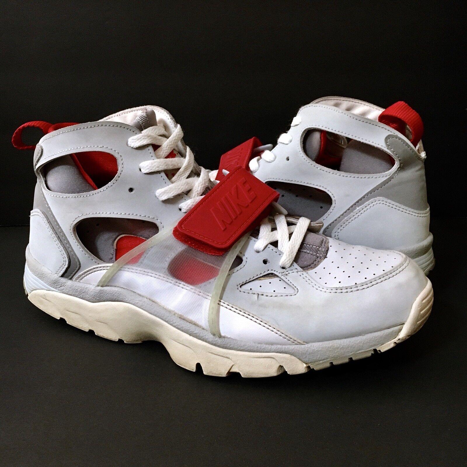 NIKE Air Trainer Huarache Men's Pure Platinum Grey Red White 679083-017 Sz 11
