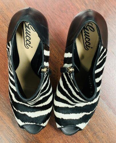 GUCCI Leather Zebra Print Peep-Toe Booties 39.9  B