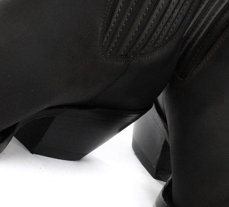 Nuevas Botas Cowboy Grinders Mustang Negro Cuero Slip On Cubano Tacón Chelsea Botas