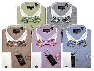 C Allen Dress Shirts Bow Tie Combo French Cuffs Black Lilac Green