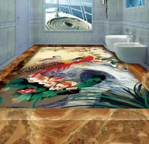 3D Phoenixs Flowers 4 Floor WallPaper Murals Wall Print 5D AJ WALLPAPER UK Lemon