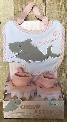 Pink Chomp /& Stomp Shark Bib and Booties Gift Set Baby Shower Gift