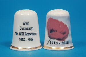 WW1 Centenary 'We Will Remember' 1918-2018 China Thimble B/182