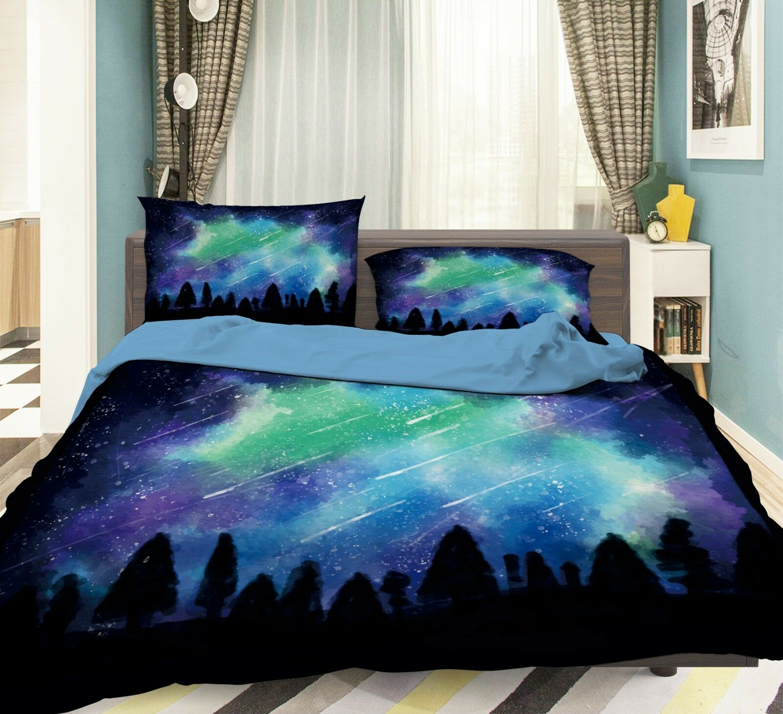 3D Meteor Naturally6 Bed Pillowcases Quilt Duvet Cover Set Single Queen AU Carly