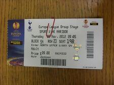 08/11/2012 Ticket: Tottenham Hotspur v Maribor [Europa League] (Fold). Thanks fo