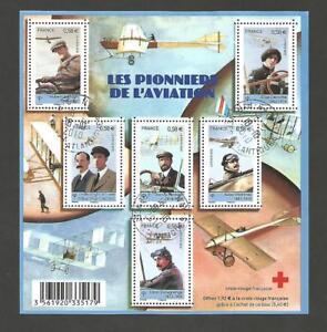 BLOC-FEUILLET-LES-PIONNIERS-DE-L-039-AVIATION-OBLITERE