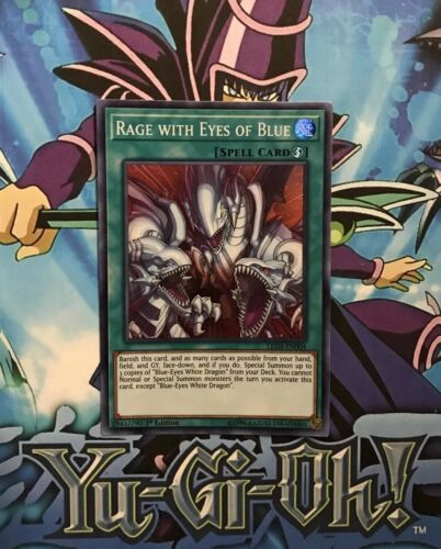 LED3-EN004 YuGiOh Super Rare Rage with Eyes of Blue NM//Mint 1st Edition