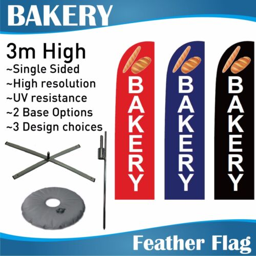 3m Outdoor BAKERY Flag Banner Feather Flags with Base