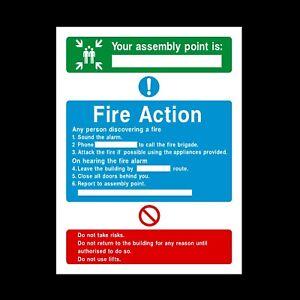 Azione di incendio la vostra Assemblea punto PLASTICA RIGIDA segno 150 x 210mm