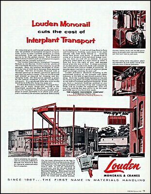 Merchandise & Memorabilia 1958 Interplant Transport Louden Monorail & Cranes Vintage Art Print Ad Adl79