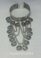 Upper Arm Bracelet Armlet Cuff Armband Bangle Chain Coin Harness Boho Silver USA