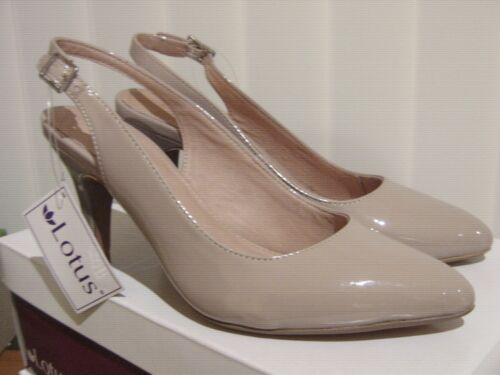 """Lotus /""""Nadia/"""" Nude Shiny Leather Lined Special Occasion Slingback 3in Heel SALE"""