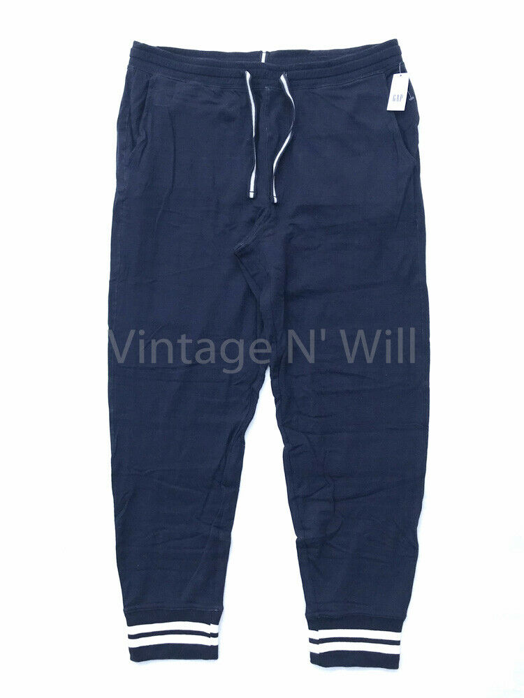 GAP Mens L Navy bluee  White Double-Knit Striped Jogger Casual Lounge Sweatpants