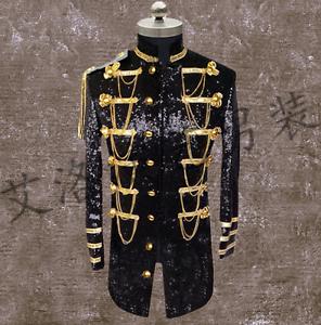 Mens Sequins Glitter Singer Military Court Tassels Blazer Costume Coat Jacket hu