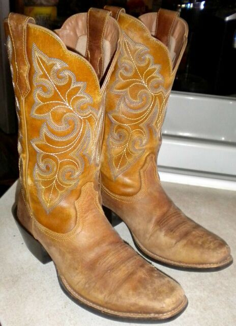 41af0010e33 WOMENS 6.5 B Dusty Tan ARIAT # 10011893 Round Up SQUARE TOE WESTERN BOOTS  $150 !