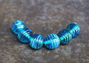 Aqua-Iris-Ribbed-Rounds-Handmade-Glass-Lampwork-Beads-elasia-SRA-MTO