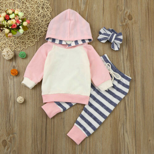 Toddler Baby Girls Winter Outfits Clothes Hoodie Tops+Pants+Headband 3PCS Set AB