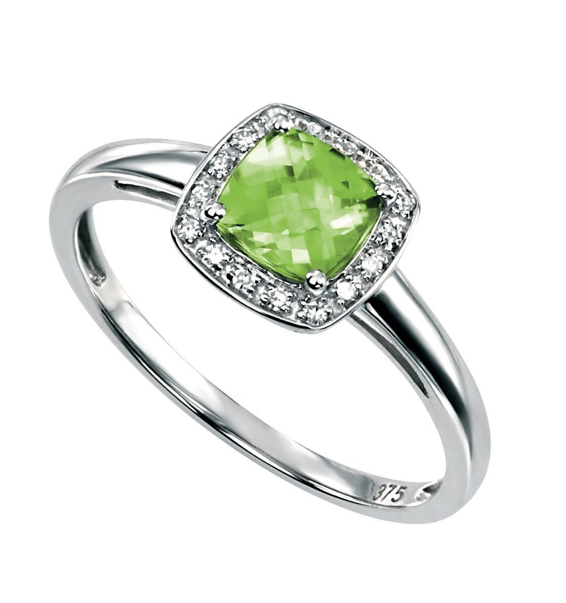 Designer - Elements gold - 9ct White gold Peridot & Diamond Ring