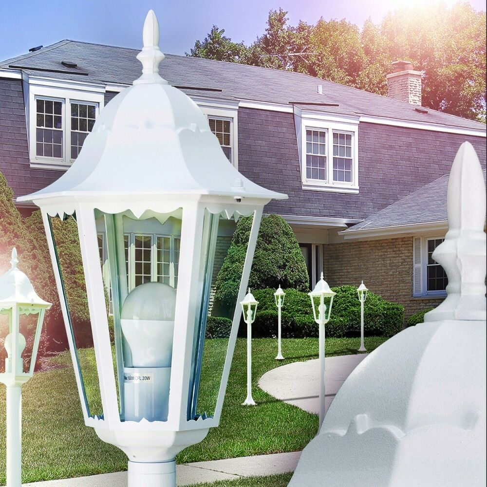 Lampioncino Giardino Lampada Segnapasso Alluminio Bianco Stile Classico 142330