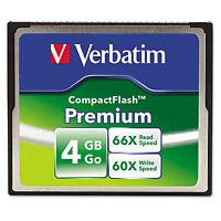 Verbatim Premium Compactflash Memory Card 4gb 66x Read Speed/60x Write Speed