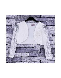 GIRLS-KIDS-LONG-SLEEVES-IVORY-LACE-SHRUG-BOLEROS-CARDIGAN-2-14-YEARS