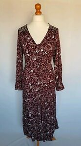 M-amp-S-Floral-Print-Long-Sleeve-Button-Down-Maxi-Dress-Size-UK-16