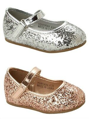 GIRLS ROSE GOLD GLITTER BRIDESMAID WEDDING EVENING PARTY PUMPS SHOES SIZE 4-10