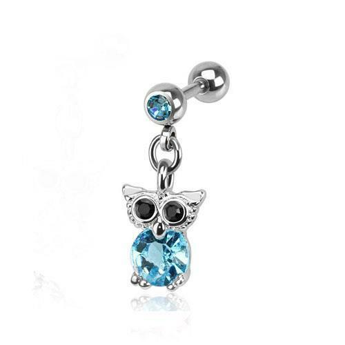 316L Surgical Steel Tragus//Cartilage Stud with Blue Jewelled Owl Dangle