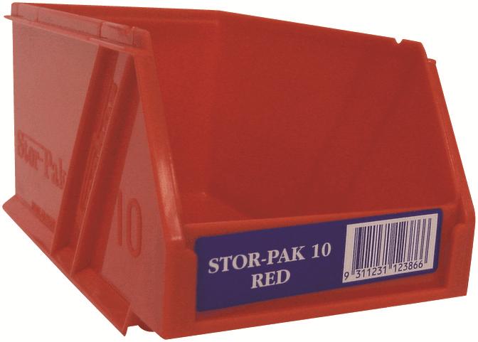 2x Fischer STOR-PAK-10 PLASTIC STORAGE BIN 100x170x85mm 1L Angled Front rosso
