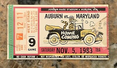 1983 Auburn vs Maryland Football Ticket Stub At Auburn ...