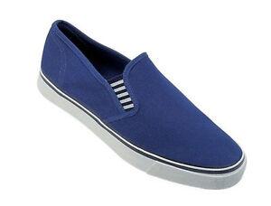 Azul-LONA-YATE-Zapatos-Sin-Cordones-REFUERZO-DECK-Zapatos-con-suela-de-goma