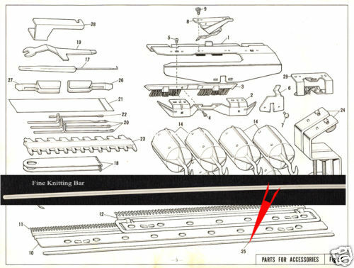 FINE KNITTING BAR KR830 KR838 KR850Brother Ribbing Knitting Machie