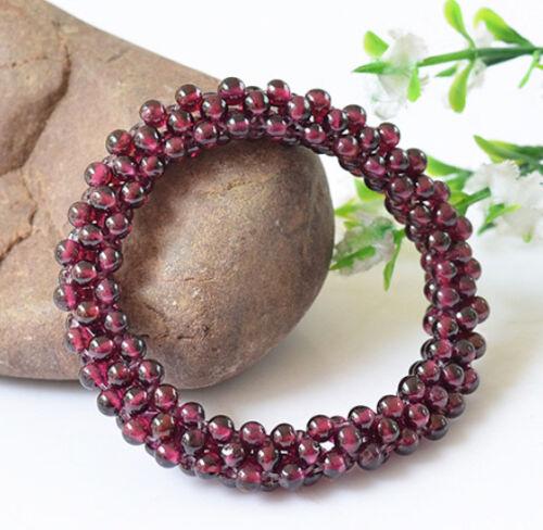 B05 Armband geflochten Perlen Kugeln roter Granat Stein des Januar