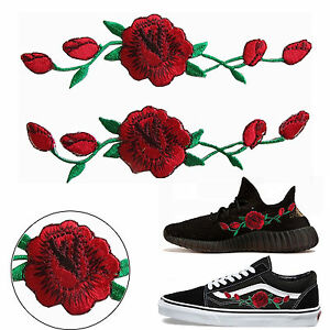 2X-Red-Rose-Flower-Embroidered-Applique-Patch-Badge-Shoes-Cloth-Sew-Iron-On-DIY