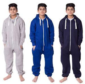Unisex-Kids-Girls-Boys-Plain-Colour-Fleece-Hooded-Jumpsuit-Pajamas-7-13-Years