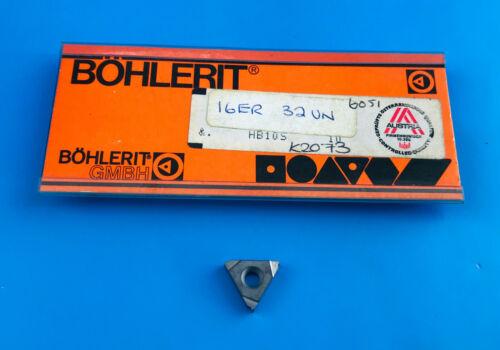 1 Off Böhlerit 16ER 32UN HB10S K10 Carbide Threading Insert