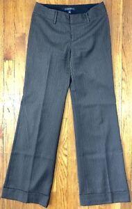 Banana Republic Womens Martin Fit Dress Pants Gray Striped Cuffed Wool W28 L32