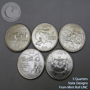 2008 D 25c State Quarter 5 Coin Set Lot Uncirculated Mint State