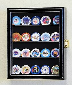 20 Casino Chips / Coin / Poker Chip Coins Display Case Holder Wall Rack Box-Lock