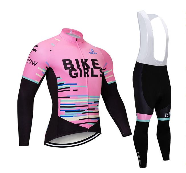Completo ciclismo invernale felpatosquadra BIKE GIRLSCycling set jersey set 9d 9d 9d 7a9