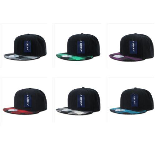 Plain Solid Blank Plaid Checker Tartan Brim Flat Bill Snapback Baseball Hat Cap