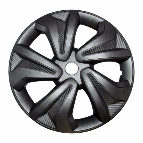 """4x Radkappen Carbon GREY 16/"""" Zoll Auto Radzierblenden Silber Grau BMW AUDI VW"""