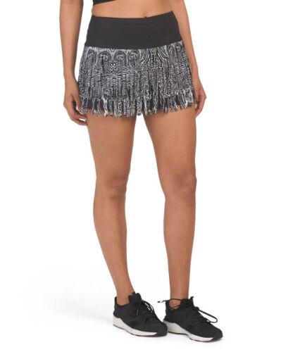 Size X-Small XS Lucky in Love Tennis Skirt Skort Black Animal Print Fringe NWT