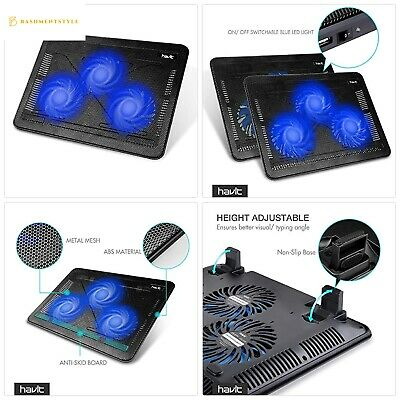 Laptop Cooling Pad HAVIT F2056 Adjustable 3 Fans Up To 17Inch NEXT DAY DELIVERY