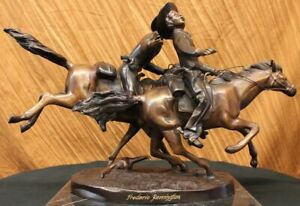 Bronze-Statue-Hand-Made-Wounded-Bunkie-by-Frederick-Remington-American-Artist-NR